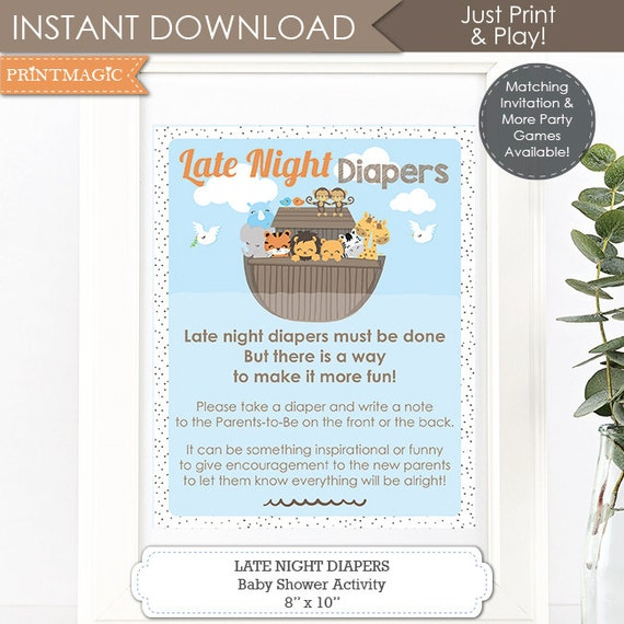 Noah's Ark Late Night Diapers Sign - Ark Baby Shower Late Night Diapers - Noah's Ark Baby Shower Activity - Instant Download