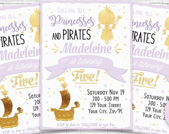 Lavender Gold Princess & Pirate Party Invitation - Princess and Pirate Birthday - Princess Invitation - Personalize in Adobe Reader