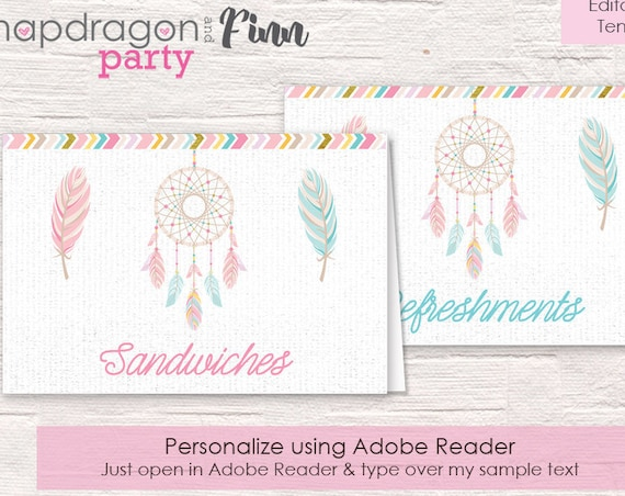 Tribal Baby Shower Food Labels - Baby Shower Buffet Table Tent Cards - Dreamcatcher Tent Cards - Instantly Download & Personalize Yourself