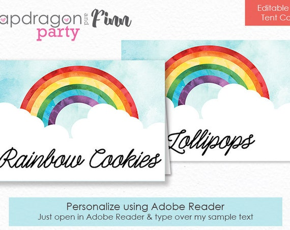 Rainbow Food Labels - Rainbow Party Buffet Table Tent Cards - Rainbow Birthday Tent Cards - Instantly Download & Personalize Yourself