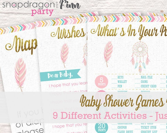 Dreamcatcher Tribal Baby Shower Games Kit - 9 Different Games - Bingo, What's In Your Purse, Predictions for Baby, Late Night Diapers & More