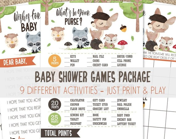 Woodland Baby Shower Games Kit - 9 Different Games - Forest Friends Bingo, What's In Your Purse, Diaper Raffle, Late Night Diapers & More