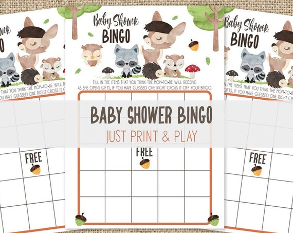 Woodland Bingo Baby Shower Game - Forest Friends Baby Shower Bingo Game - Forest Animals Bingo Baby Shower Activity - Instant Download