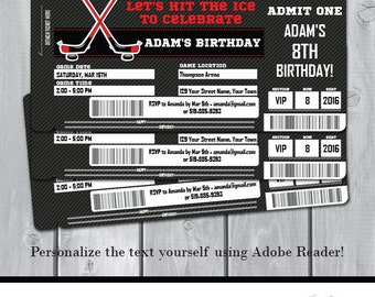 8a2ab5f0fa6 Hockey Birthday Party Invitation - Hockey Invitation - Hockey Ticket  Invitation - Instant Download - Personalize at home in Adobe Reader