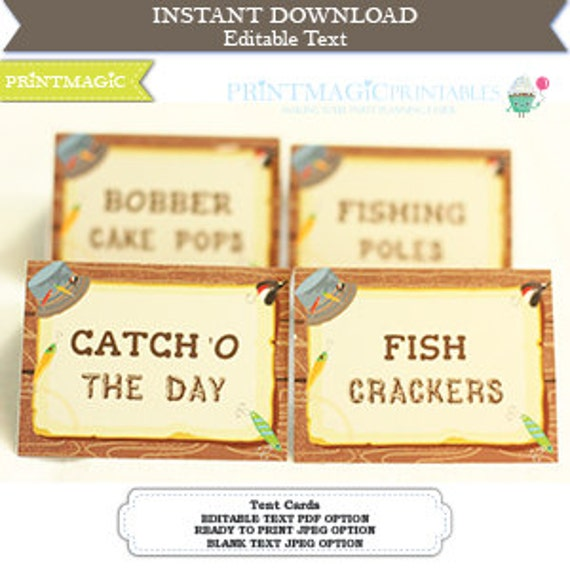 Fishing Party Food Label - Fishing Birthday Party - Fishing Party Tent Cards - Buffet Table Tent Cards - Editable Text - Instant Download