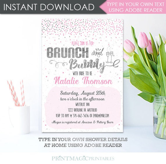 Brunch and Bubbly Bridal Shower Invitation - Champagne Bridal Shower Invitation - Instant Download & Personalize at home in Adobe Reader