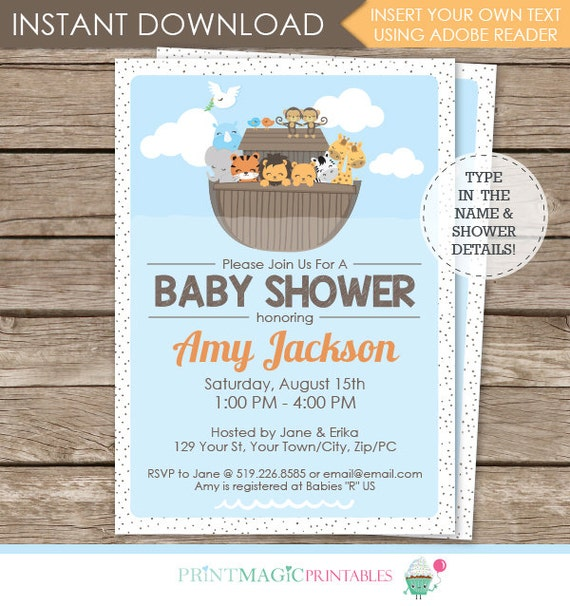Noah's Ark Baby Shower Invitation - Ark Invitation - Ark Baby Shower - Instantly Download & Personalize in Adobe Reader