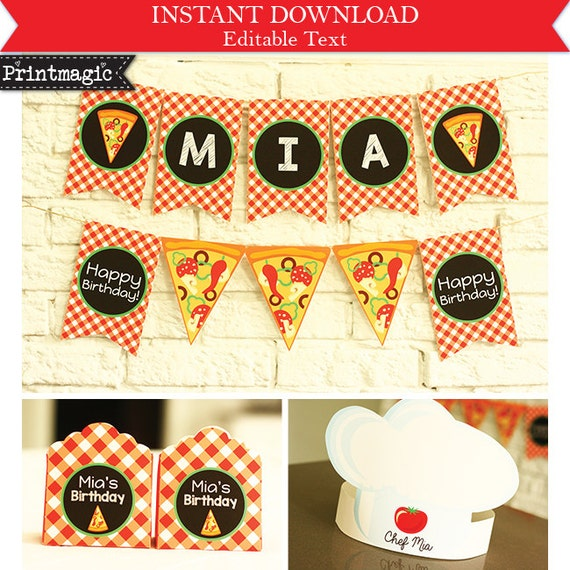 Pizza Birthday Party Invitations & Decorations - Pizza Party Invitation - Pizza Birthday - Download and Personalize at home in Adobe Reader