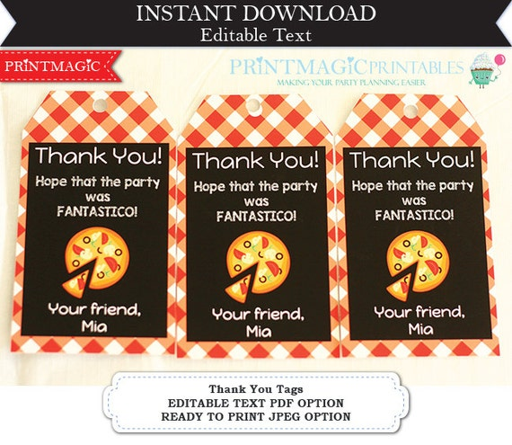 Pizza Party - Birthday Party Thank You Tags  - Pizza Favor Tag - Pizza Party Thank You - Download & Personalize in Adobe Reader at home
