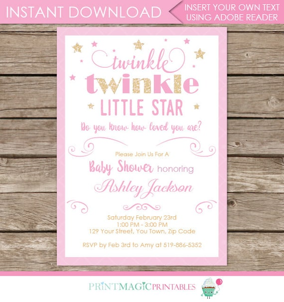 Twinkle Twinkle Little Star Invitation - twinkle twinkle invitation - twinkle baby shower - Download & Personalize at home in Adobe Reader