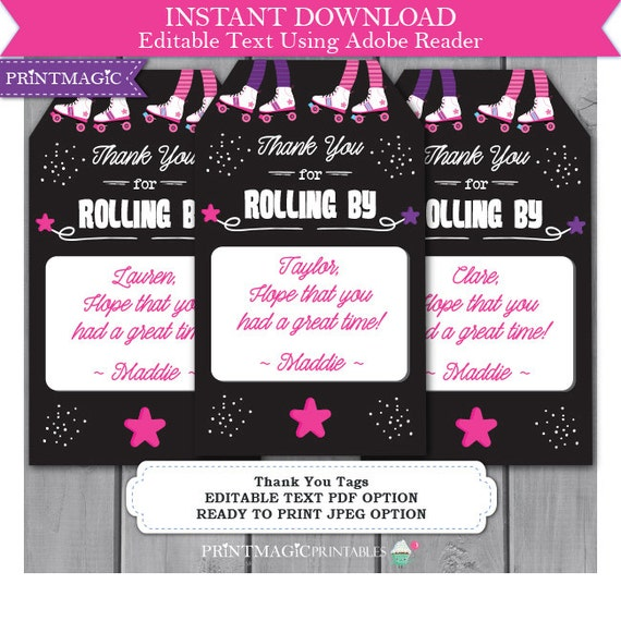 Rollerskating Birthday Party Thank You Tags - Rollerskating Thank You - Roller Skating Thank You - Editable Text - Instant Download