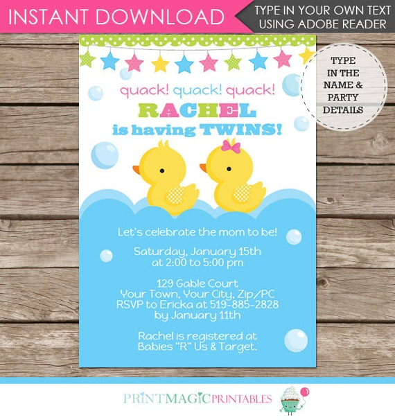 Twin Boy Girl Rubber Duck Baby Shower Invitation - Twin Baby Shower - Twin Baby Shower - Download & Personalize at home in Adobe Reader