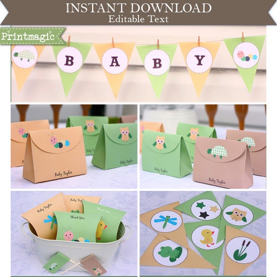Baby Animals Baby Shower Invitation & Decorations - Cute Bug Baby Shower - Printable Party Kit - Download and Edit at home in Adobe Reader