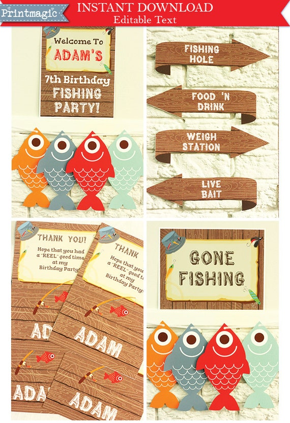 Gone Fishing Party Invitations & Decorations - Printable Party Kit - Fishing Birthday Party - Download Now and Personalize in Adobe Reader