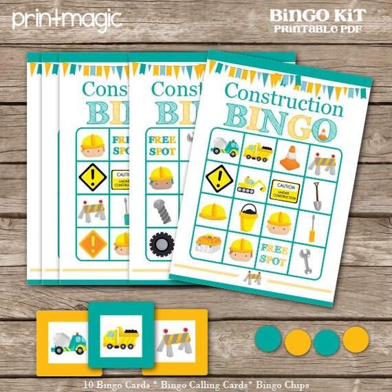Construction Party Bingo Printable Party Game - Printable PDF - Instant Download - Construction Birthday Party - Construction Bingo