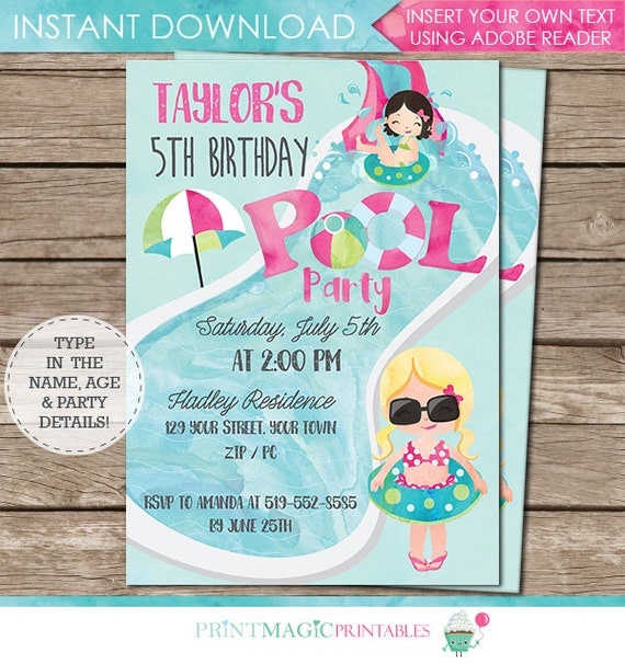 Pink Pool Party Invitation - Pool Party Birthday - End of Year Party Invitation - Instant Download & Personalize at home in Adobe Reader