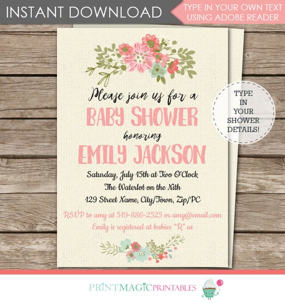 Floral Baby Shower Invitation - Flower Baby Shower Invitation - Vintage Flower - Instant Download & Edit in Adobe Reader at home