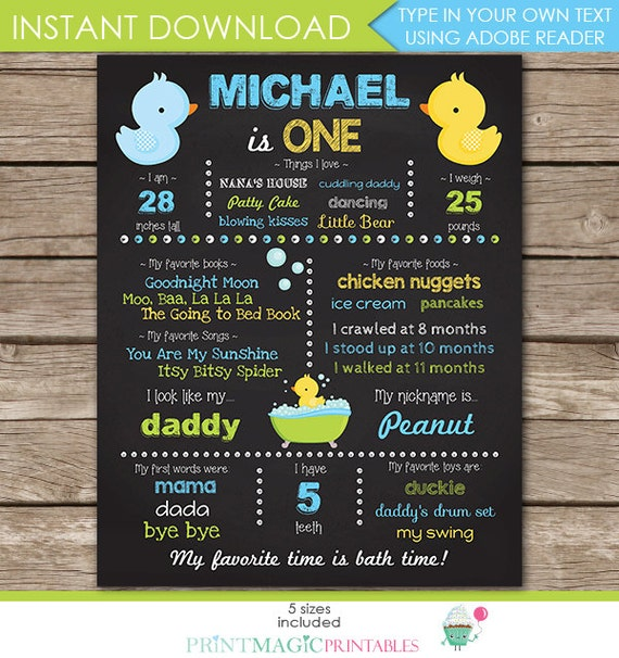 Boy Rubber Duck Chalkboard Poster - 1st Birthday or Baby Shower Chalkboard - Instant Download & Edit in Adobe Reader at home