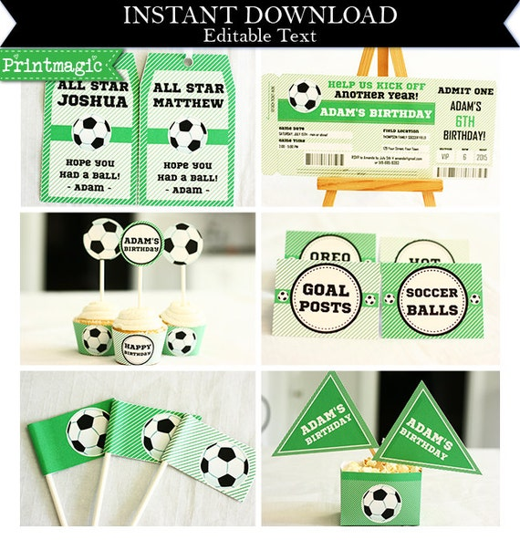 Soccer Birthday Party Invitations & Decorations - Printable Party Kit - Soccer Ticket Invitation - Download and Personalize in Adobe Reader