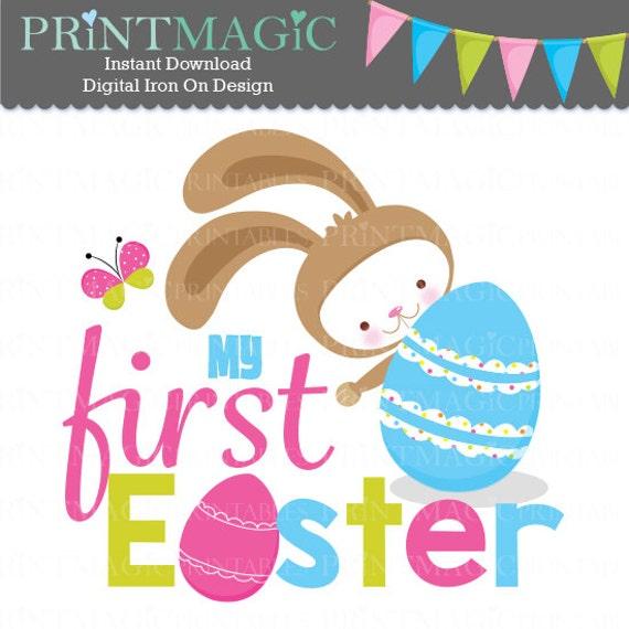 Girl Easter Bunny 1st Easter Digital Iron On - Digital Tshirt Design - Baby 1st Easter- 1st Easter Digital Sticker Design