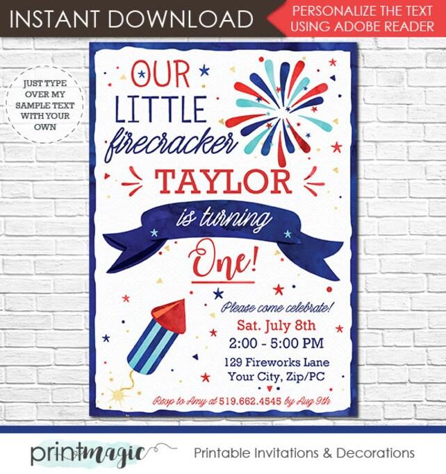 Our Little Firecracker Invitation