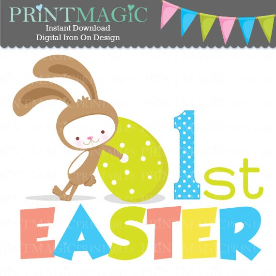 Boy Easter Bunny 1st Easter Digital Iron On - Digital Tshirt Design -Baby 1st Easter- 1st Easter Digital Sticker Design - 1st Easter Sticker
