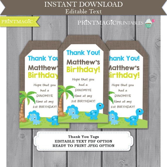 Dinosaur Birthday Party Thank You Tags - Dinosaur Birthday - Dinosaur Party Favor Tag - Instant Download - Editable Text Template