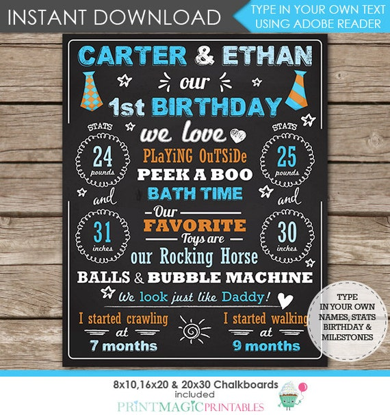Twin Boys 1st Birthday Chalkboard Poster - Twins Birthday Chalkboard - Twins Chalkboard - Tie - Download Now & Edit in Adobe Reader athome