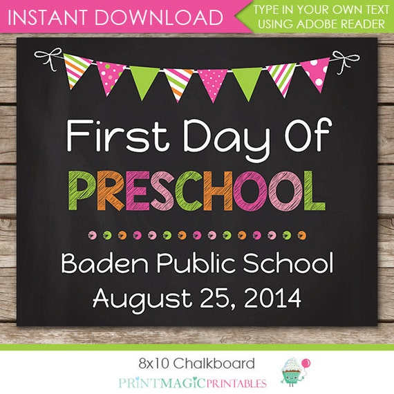 Last Day of Preschool Chalkboard - First Day of School Chalkboard - First Day of School Chalkboard - Download now & Edit in Adobe Reader