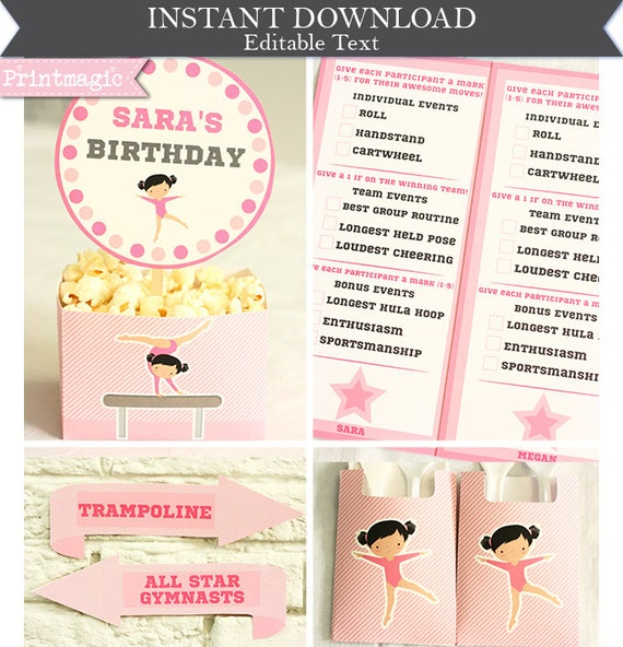 Pink Gymnastics Birthday Party Invitations & Decorations- Gymnastics Invitation - Gymnastics Party- Download and Personalize in Adobe Reader