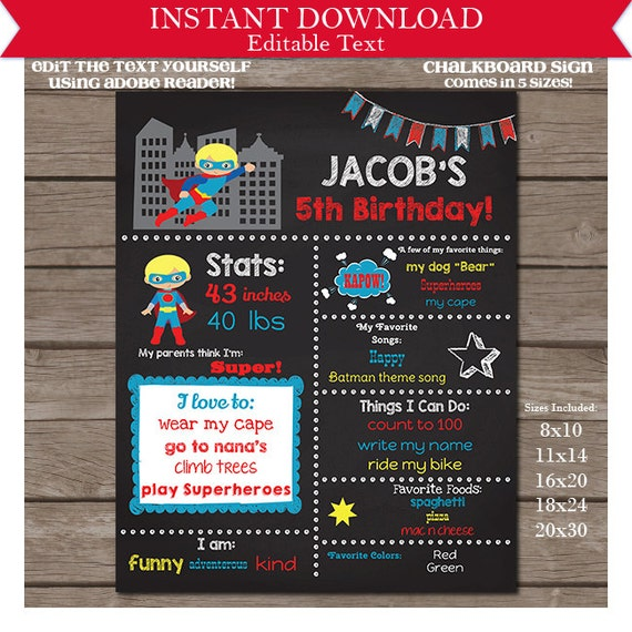 Blonde Superhero Birthday Chalkboard - Superhero Chalkboard Poster - 5 sizes - Instant Download & Personalize in Adobe Reader at home