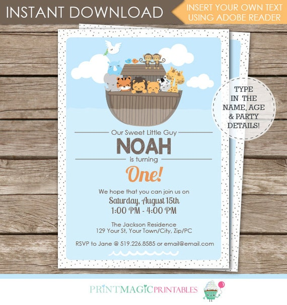 Noah's Ark Birthday Invitation - Ark Invitation - Ark 1st Birthday - 5x7 - Instant Download & Personalize in Adobe Reader at home