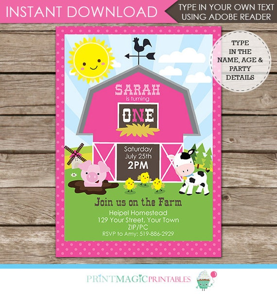Pink Barnyard Birthday Party Invitation - Barnyard Invitation - Girl Barnyard Invitation - Farm Birthday - Edit Text at home in Adobe Reader