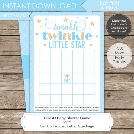 Blue Twinkle Twinkle Little Star Baby Shower Game - Instant Download - Twinkle Twinkle Baby Shower - Twinkle Star Baby Shower Bingo Game
