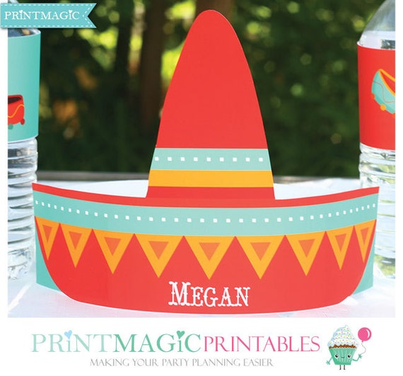 Sombrero Party Hat - Instant Download - Printable Sombrero Birthday Party Hat - Fiesta Birthday Party - Cinco de Mayo Party Hat