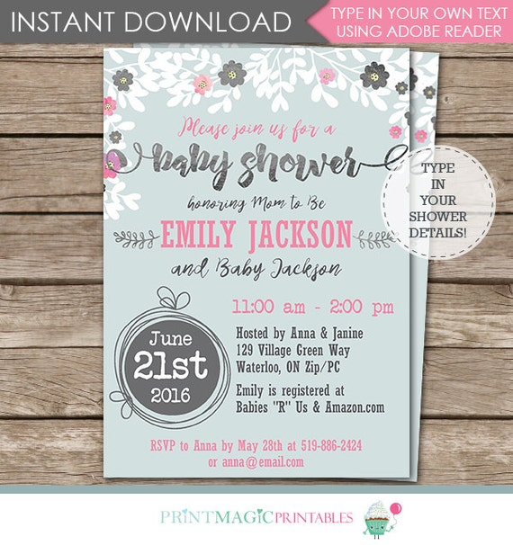 Watercolor Flowers Baby Shower Invitation - Floral Watercolor Baby Shower Invitation- Instant Download & Personalize in Adobe Reader at home