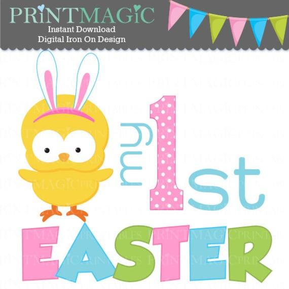 Girl Easter Chick 1st Easter Digital Iron On - Digital Tshirt Design - Baby 1st Easter- 1st Easter Digital Sticker Design