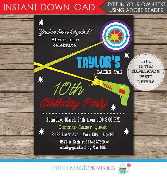 Laser Tag Birthday Party Invitation - Laser Tag Party - Laser Tag Invitation - Instant Download - Personalize at home in Adobe Reader