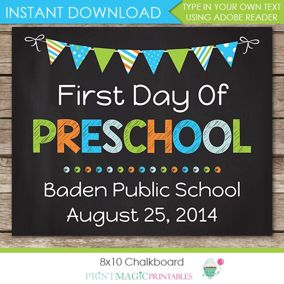 First Day of Preschool Chalkboard Sign - Last Day of School Chalkboard - Preschool Chalkboard - Photo Prop - Download & Edit in Adobe Reader