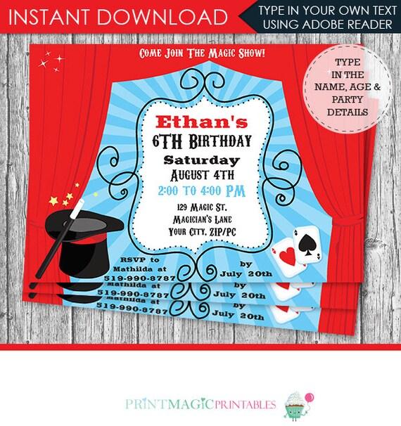 Magic Show Birthday Party Invitation- Magic Show Invitation - Magic Party - Magic Birthday - Download & Personalize at home in Adobe Reader