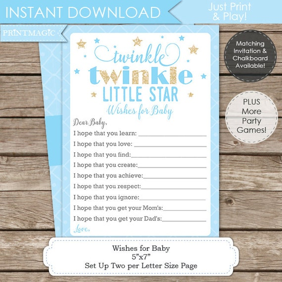 Blue Twinkle Twinkle Little Star Wishes for Baby - Instant Download - Twinkle Twinkle Baby Shower - Twinkle Star Baby Shower Wishes for Baby