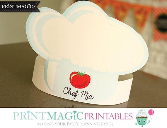 pizza party hat chef hat printable party hat birthday etsy
