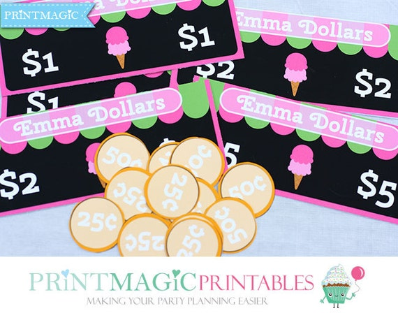 Ice Cream Shop Birthday - Printable Play Money - Ice Cream Birthday Party - Ice Cream Party - Editable Text - Instant Download