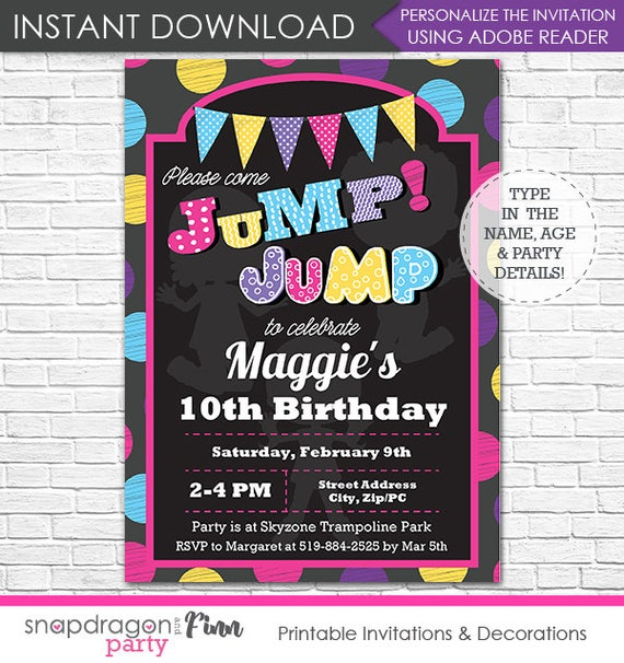 Trampoline Birthday Party Invitation - Jump Invitation - Trampoline Invitation - Instant Download - Personalize at home in Adobe Reader