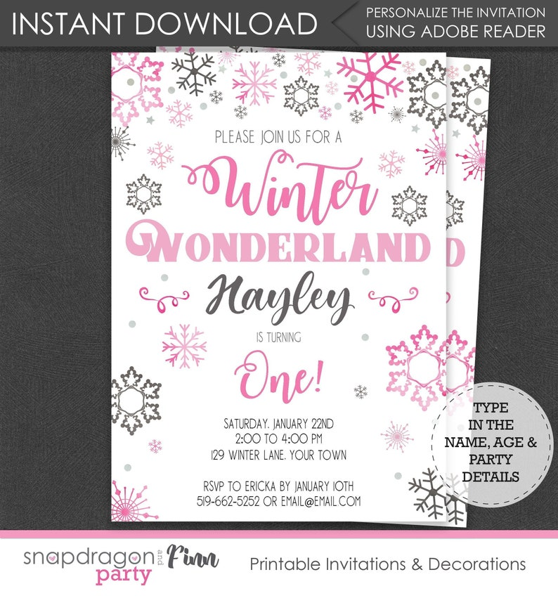 Winter Wonderland Birthday Party Invitation - Onederland Invitation -  Wonderland Invitation - Download & Personalize at home in Adobe Reader