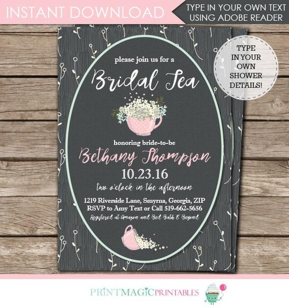 Bridal Tea Invitation - Tea Party Bridal Shower Invitation - Teacup Invitaton - Instant Download & Personalize at home in Adobe Reader