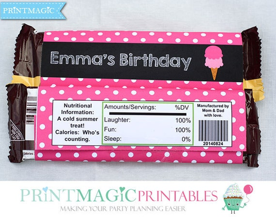 Ice Cream Shop Birthday - Large Hershey Bar Wrapper - Ice Cream Birthday - Candy Bar Wrapper - Download Now & Personalize with  Adobe Reader