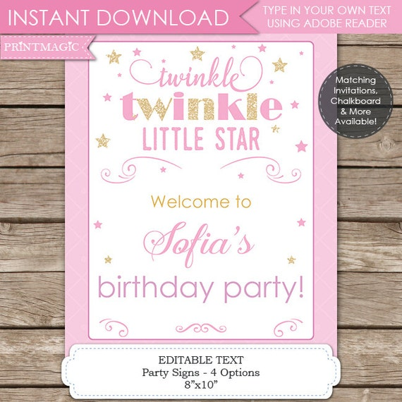 Twinkle Twinkle Little Star 1st Birthday Signs - Twinkle Twinkle Little Star Baby Shower Signs - Editable Text - Instant Download - 8x10