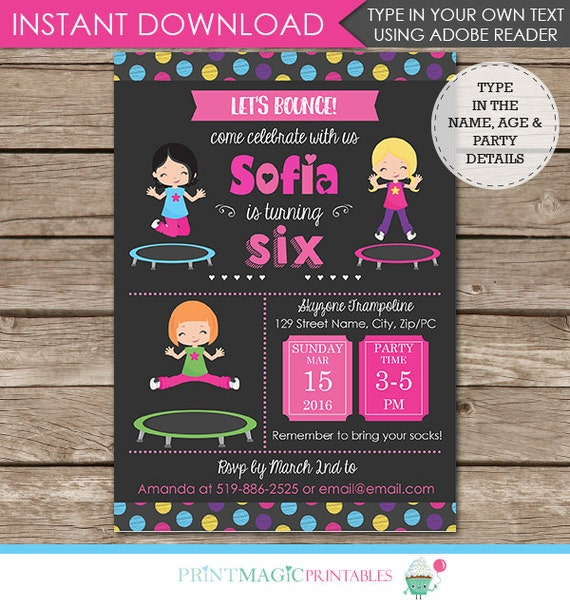 Girl Trampoline Birthday Party Invitation - Jump Party Invitation - Trampoline Invitation - Download & Personalize at home in Adobe Reader