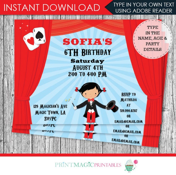 Girl Magic Show Birthday Party Invitation - Magic Invitation - Magic Show Invitation - Download & Personalize at home in Adobe Reader